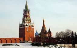 Cathedral of the Intercession. Of the Blessed Virgin Mary, which is on the moat, as well as the rescue tower on the red square Royalty Free Stock Photo