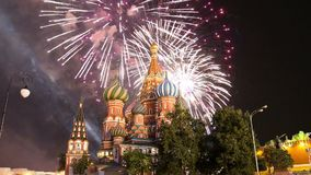Cathedral of Intercession of Most Holy Theotokos on the Moat  Temple of Basil the Blessed and fireworks,  Red Square, Moscow, Ru stock footage