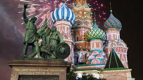 Cathedral of intercession of Most Holy Theotokos on the Moat  Temple of Basil the Blessed and fireworks,  Red Square, Moscow, Ru stock video