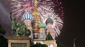 Cathedral of intercession of Most Holy Theotokos on the Moat  Temple of Basil the Blessed and fireworks,  Red Square, Moscow, Ru stock video footage