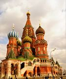 Cathedral of the Intercession - St. Basil`s Cathedral on red square in Moscow, a monument of Russian architecture. Construction o. F the Cathedral was carried royalty free stock photography