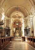 Cathedral interior. Franciscan monastery interior from Romania stock photos