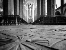 Cathedral Interior. Artistic look in black and white Royalty Free Stock Images