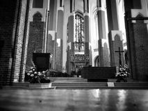 Cathedral Interior. Artistic look in black and white Stock Photos
