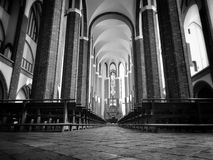 Cathedral Interior. Artistic look in black and white Royalty Free Stock Photos