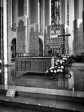 Cathedral Interior. Artistic look in black and white Stock Photo