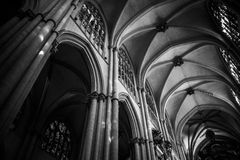 Cathedral interior, gothic style, spanish Royalty Free Stock Photography