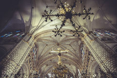 Cathedral interior, gothic style, spanish church Stock Photos