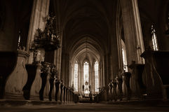 Cathedral. Interior of a old cathedral. Peace Royalty Free Stock Photo