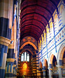 Cathedral interior. Perspective of roof and pillars Royalty Free Stock Images
