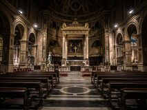 Cathedral Interior Religious With Benches Empty in Back Stock Photos