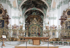 Cathedral interior in St.Gallen switzerland. Interior view of 18th.century in baroque style cathedral in St.Gallen Switzerland Stock Photo
