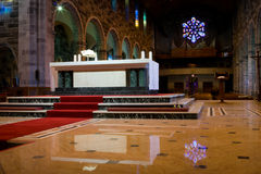 Cathedral interior with staind glass and organ Royalty Free Stock Photos