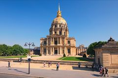 The Cathedral of Invalids in sunny spring day. Famous touristic places and travel destinations in Paris. Travel and tourism concept. Paris, France stock photos