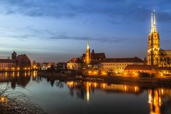 Cathedral Island in the evening Wroclaw, Poland Stock Photos