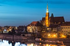Cathedral Island in the evening Wroclaw, Poland Stock Image