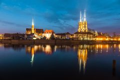 Cathedral Island in the evening Wroclaw, Poland Stock Photography
