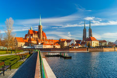 Cathedral Island in the morning, Wroclaw, Poland. Cathedral Island or Ostrow Tumski with with Cathedral of St. John and church of the Holy Cross and St Royalty Free Stock Image