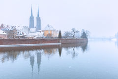Cathedral Island in the winter day, Wroclaw, Poland Royalty Free Stock Images