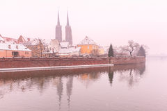 Cathedral Island in the winter day, Wroclaw, Poland Stock Photography