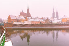 Cathedral Island in winter day, Wroclaw, Poland Royalty Free Stock Photography