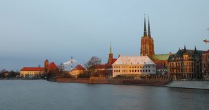 Cathedral Island in Wroclaw. Poland stock video footage