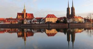 Cathedral Island in Wroclaw. Poland stock video