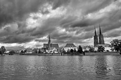 Cathedral Island in Wroclaw Poland with view on of St John the Baptist picturesque panorama medieval town. Black and white royalty free stock image