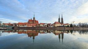 Cathedral Island in Wroclaw. Timelapse: Cathedral Island in Wroclaw, Poland stock video footage