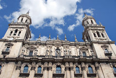 Cathedral of Jaen, Spain. Bottom view of the cathedral a city in Spain Royalty Free Stock Photos