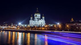 Cathedral of Jesus Christ Saviour at night in Moscow. Stock Photography
