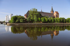 Cathedral  in Kaliningrad. Cathedral on the island of Kant with the reflection in a river Royalty Free Stock Images