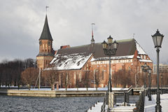 Cathedral in Kaliningrad. Catholic Cathedral in Kaliningrad city of Russia. Sort from quay of river station Royalty Free Stock Photos