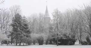 Cathedral of Kaliningrad. In deep snow stock video footage