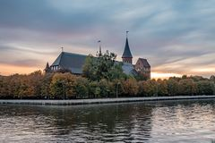 Cathedral of Kant in Kaliningrad. Sunset view royalty free stock photos