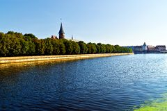 Cathedral on Kneiphof island and Fishing Village. Kaliningrad (until 1946 Koenigsberg), Russia Royalty Free Stock Image