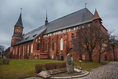 Cathedral of Koenigsberg on the Kneiphof island now Russia, Kaliningrad. Monument to Julius Rupp royalty free stock photo