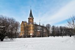 Cathedral of Koenigsberg in winter. Kaliningrad (until 1946 Koenigsberg), Russia. Koenigsberg Cathedral - Gothic temple of the 14th century. Symbol of royalty free stock photo