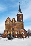 Cathedral of Koenigsberg in winter. Kaliningrad (until 1946 Koenigsberg), Russia. Koenigsberg Cathedral - Gothic temple of the 14th century. Symbol of stock photos