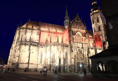 Cathedral in Kosice at night Royalty Free Stock Photography