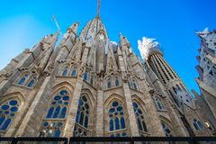 The Cathedral of La Sagrada Familia by the architect Antonio Gaudi, Catalonia, Barcelona Spain - May 14, 2018. royalty free stock image
