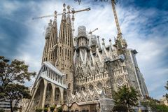 The Cathedral of La Sagrada Familia by the architect Antonio Gaudi, Catalonia, Barcelona Spain - May 18, 2018. royalty free stock images