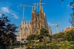 The Cathedral of La Sagrada Familia by the architect Antonio Gaudi, Catalonia, Barcelona Spain - May 17, 2018. royalty free stock photography