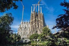 The Cathedral of La Sagrada Familia by the architect Antonio Gaudi, Catalonia, Barcelona Spain.  stock photo