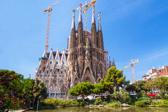 Cathedral of La Sagrada Familia, designed by architect Antonio Gaudi. Cathedral of La Sagrada Familia royalty free stock photos