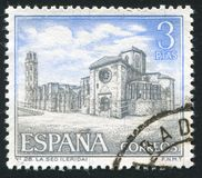 Cathedral La Seo. SPAIN - CIRCA 1966: stamp printed by Spain, shows Cathedral La Seo, circa 1966 Royalty Free Stock Photo