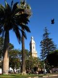 Cathedral of La Serena / Chile. Catedral de La Serena, view from Plaza de Armas, (dove included). 25. Jan. '07  19:02 Stock Image