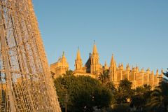 Cathedral La Seu detail and Christmas light. Decorations at sunset on December 5, 2017 in Palma de Mallorca, Balearic islands, Spain stock image
