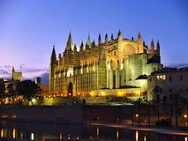 Cathedral of la Seu Mallorca. At Palma de Mallorca, Balearic islands in Spain. Night scene with reflection over fountain Stock Image
