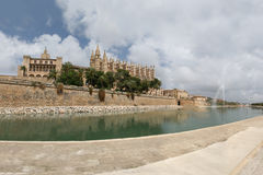 Cathedral La Seu in Palma de Mallorca. Spain. This church is one of the famous landmarks of Mallorca (Majorca). In the foreground Park del Mar with the salt royalty free stock images